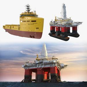 3D submersible drilling rig platform supply