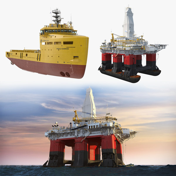 3D submersible drilling rig platform supply