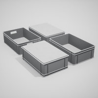 plastic stacking box set 3D