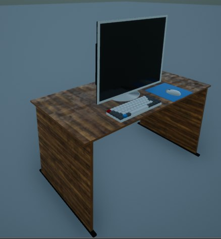 3D ready desktop computer desk model