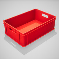 plastic stacking box red 3D model