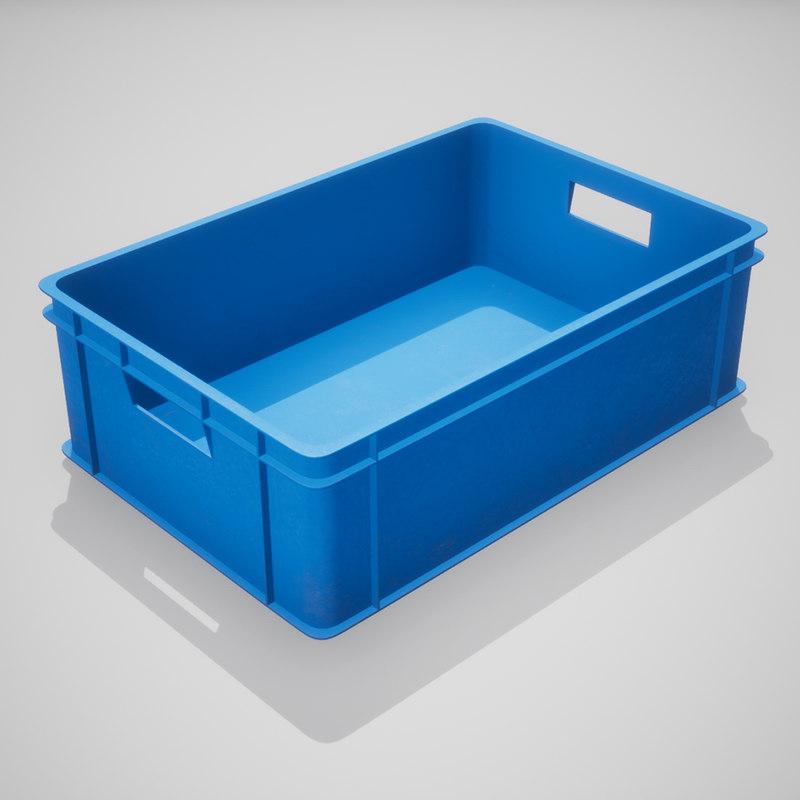 3D plastic stacking box blue model