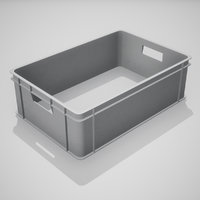 plastic stacking box gray 3D