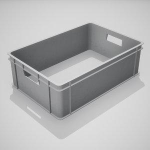 plastic stacking box gray 3D