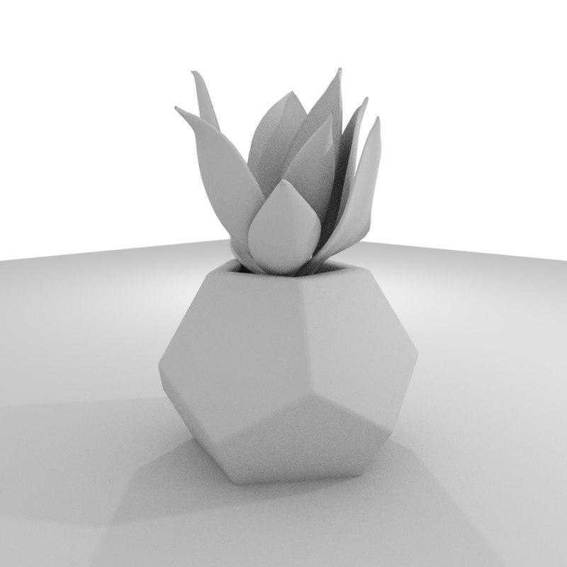 3D dodekaeder concrete potted cactus model