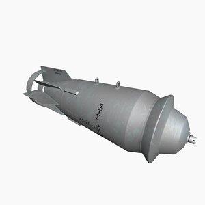 3D model fab-500 soviet russian bomb