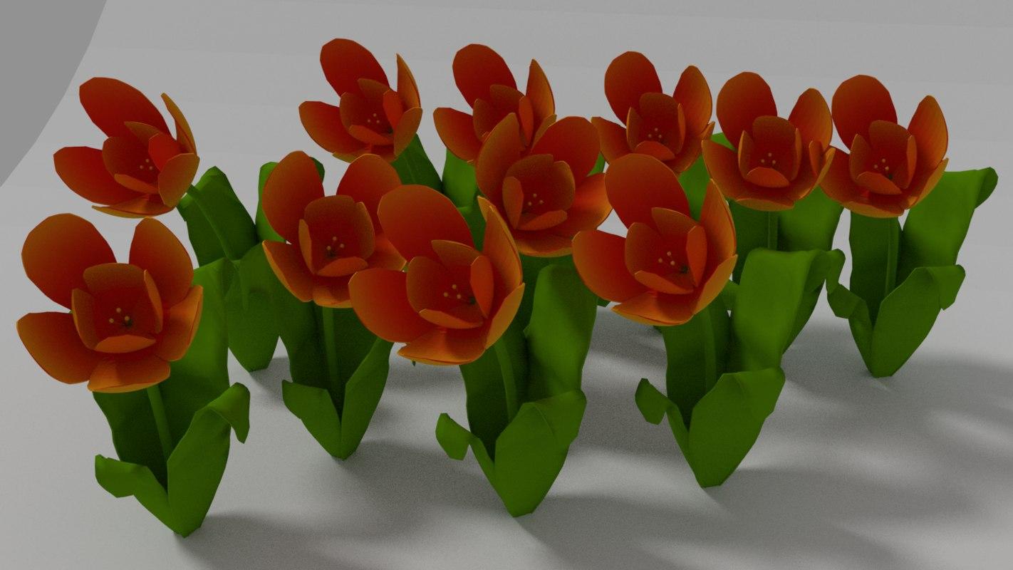 tulips flowers yellow 3D model
