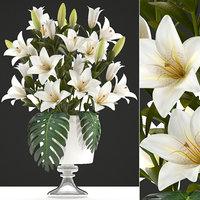3D bouquet white lilies