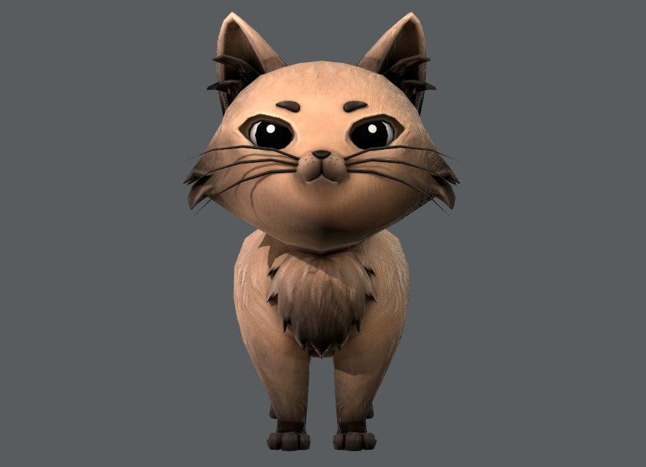 3D base cartoon cat