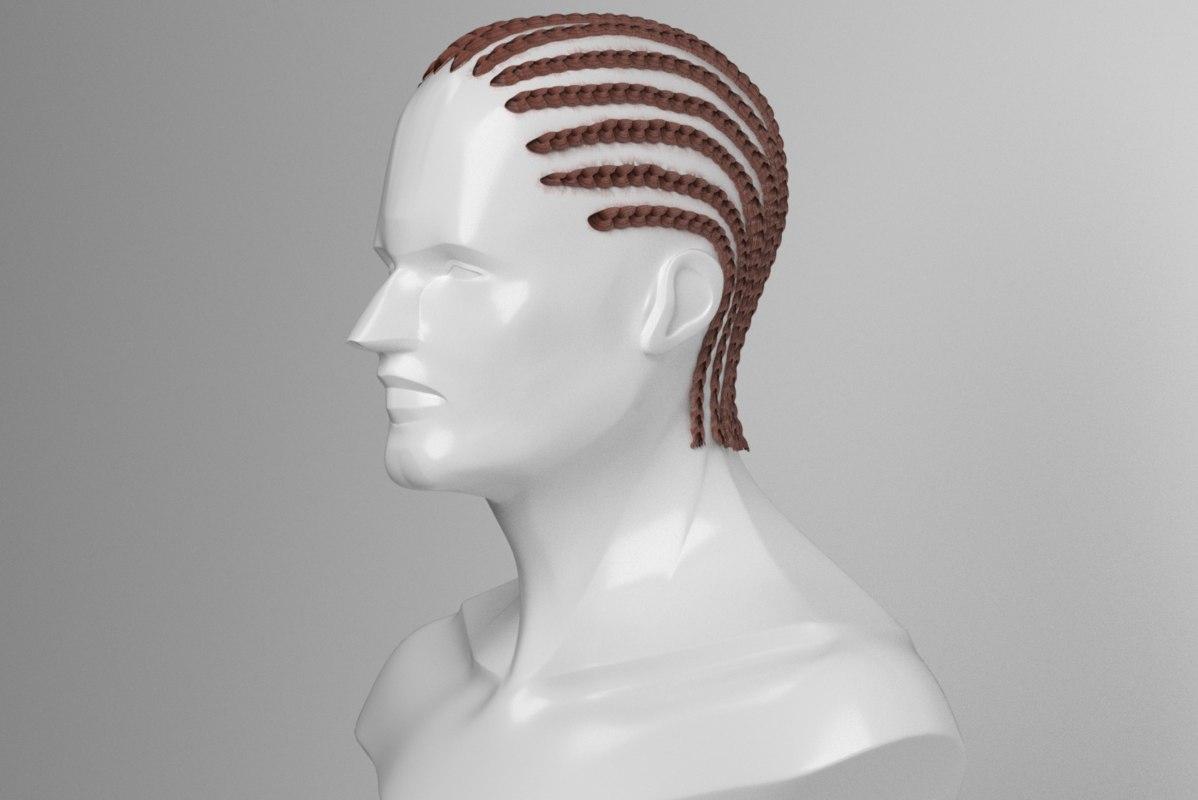 hair braid rows style 3D model