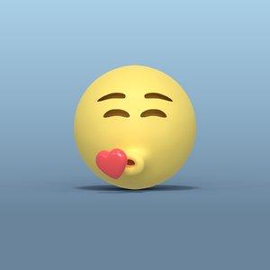 kissing smiley 3D model