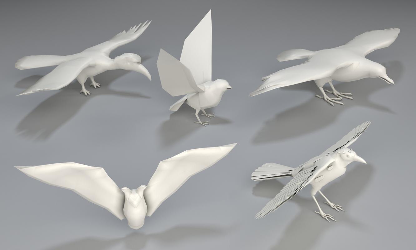 3D 5 birds -