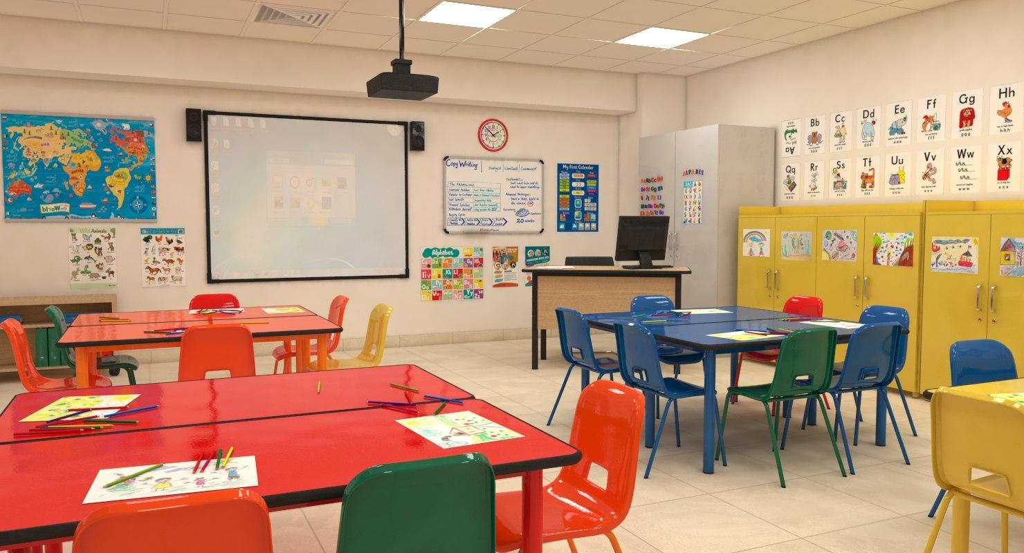 3D classroom children model