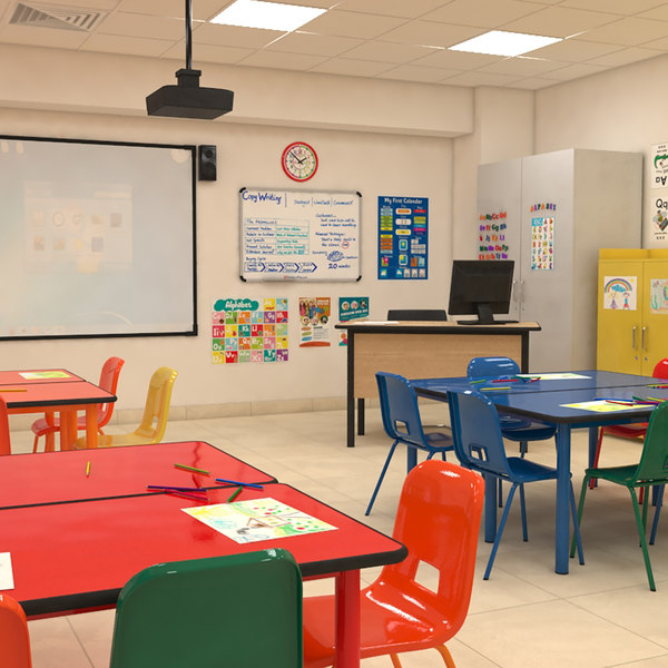 3D classroom children model