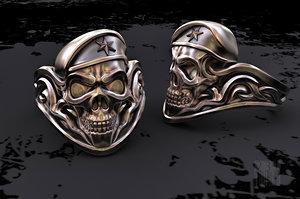 3D skull soldier ring model