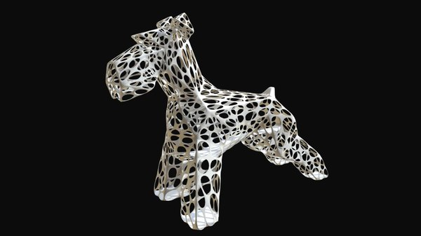 3D printed schnauzer dog figure model