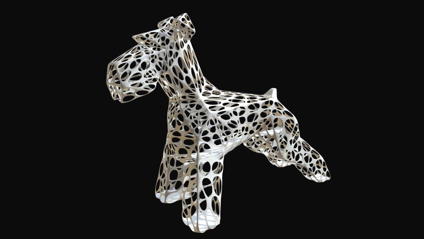 3D printed schnauzer dog figure model