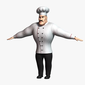 cartoon chef 2 character 3D model