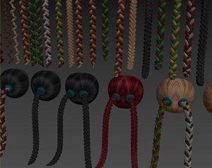 braided hair 3D