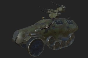 3D half-track vehicle