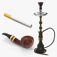 Cigarette Hookah and Tobacco Pipe 3D Models Collection