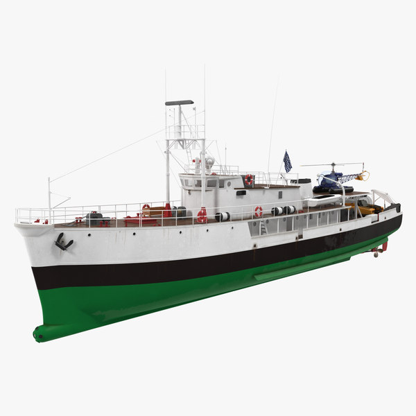 3D oceanographic vessel helicopter submarine model
