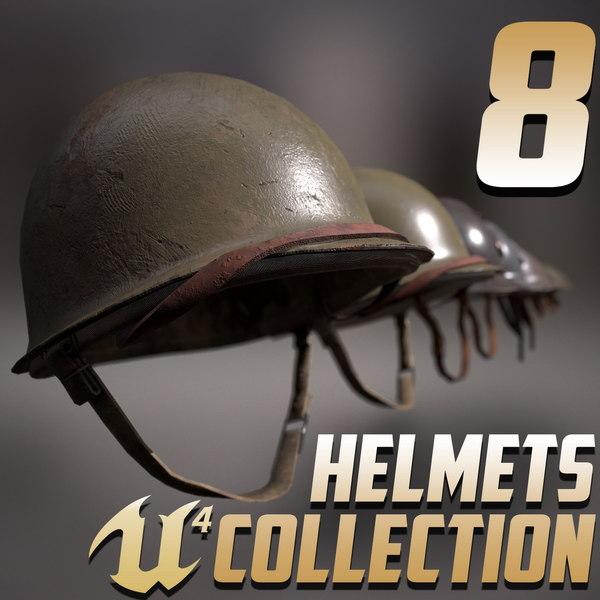8 helmets 3D model