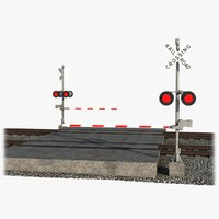 railway crossing rails 3D model