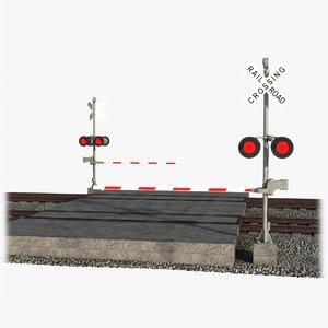 railway crossing rails 3D model