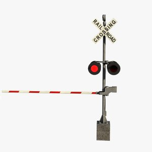 3D model railway crossing