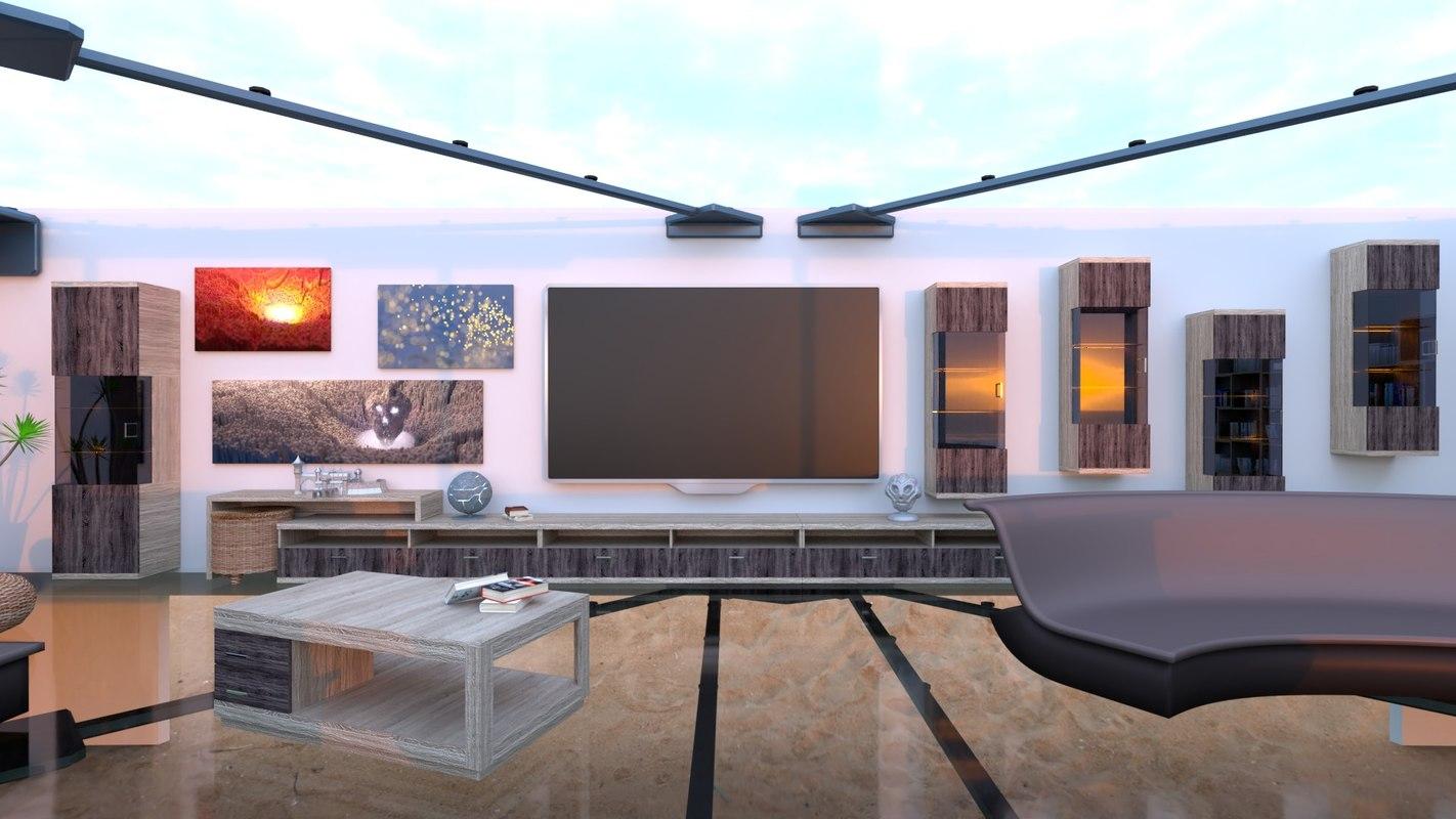 living room glass floor 3D model