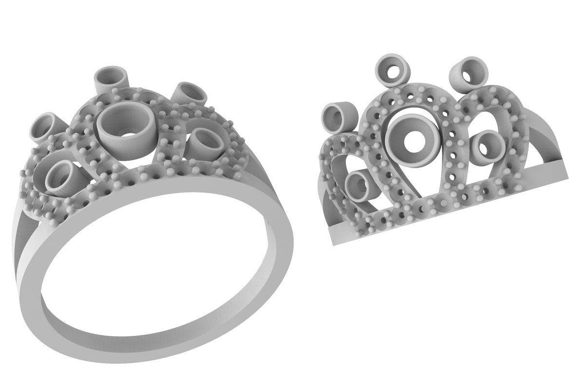 ring crown stones 3D