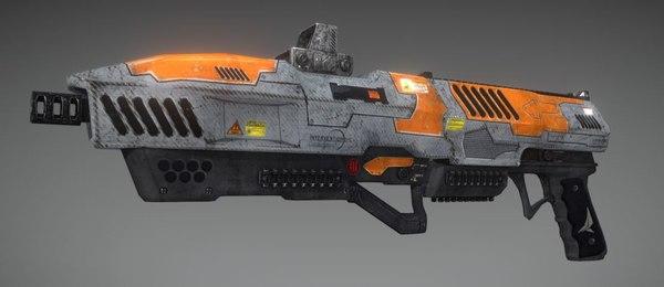 3D model sci fi gun weapon