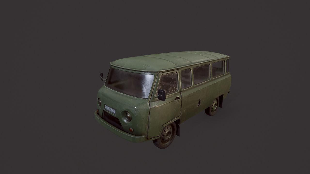 uaz 452 old military 3D model