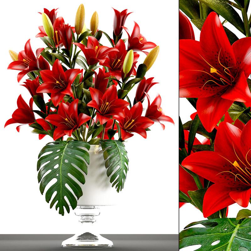 3D bouquet red flowers model
