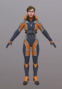3D sci fi girl woman