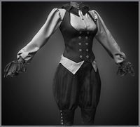 realistic female steampunk costume 3D model