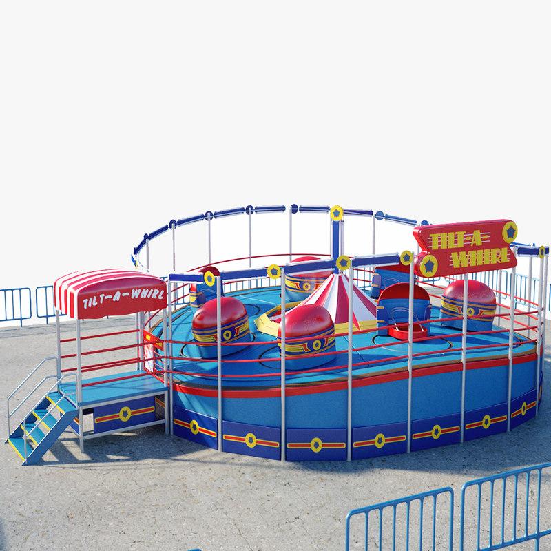 tilt-a-whirl amusement ride 3D model
