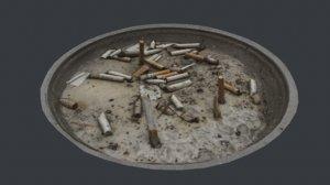 3D cigarette ash tray container model