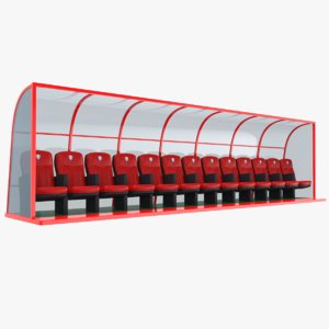 real soccer bench 3D model