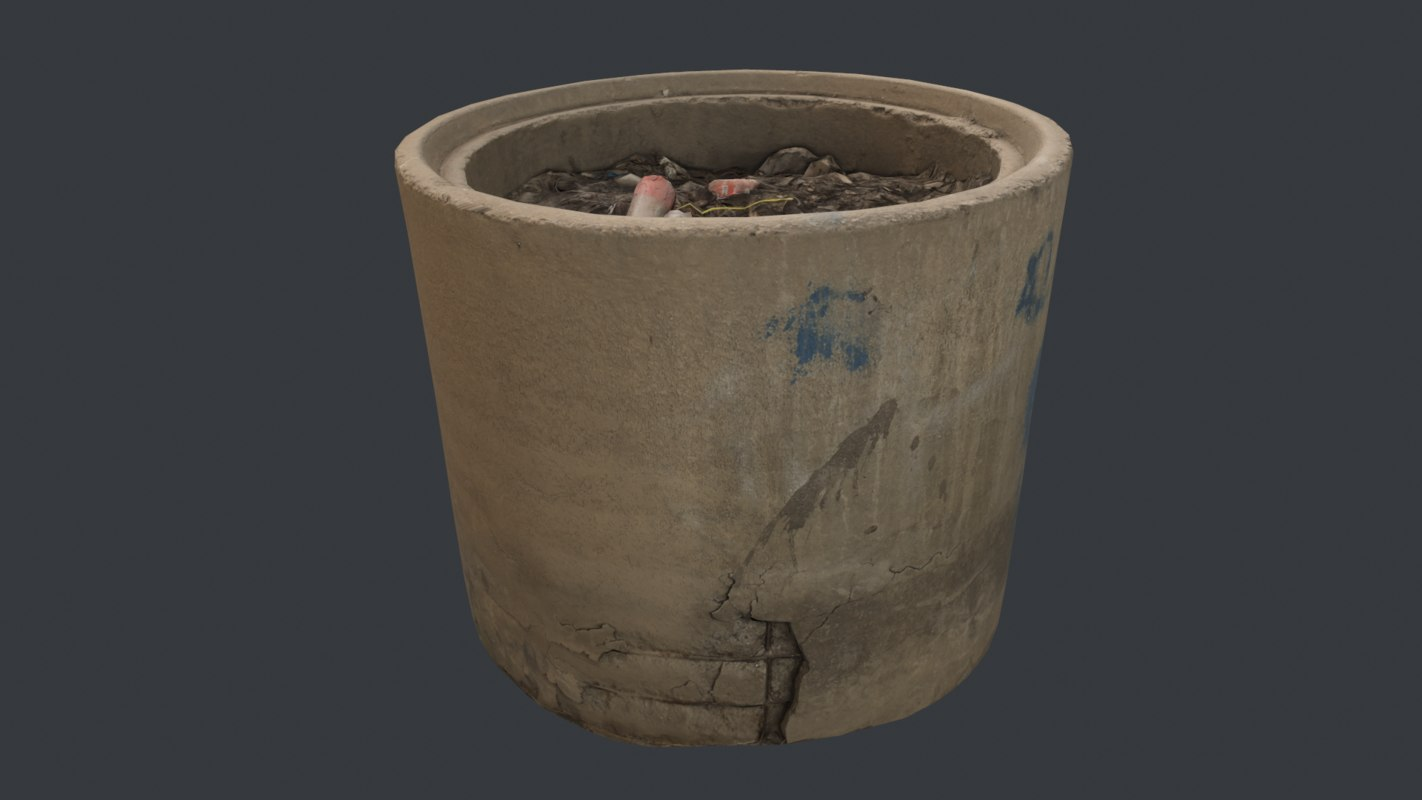 3D model garbage cement container -