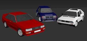 peugeot b group rally cars 3D model