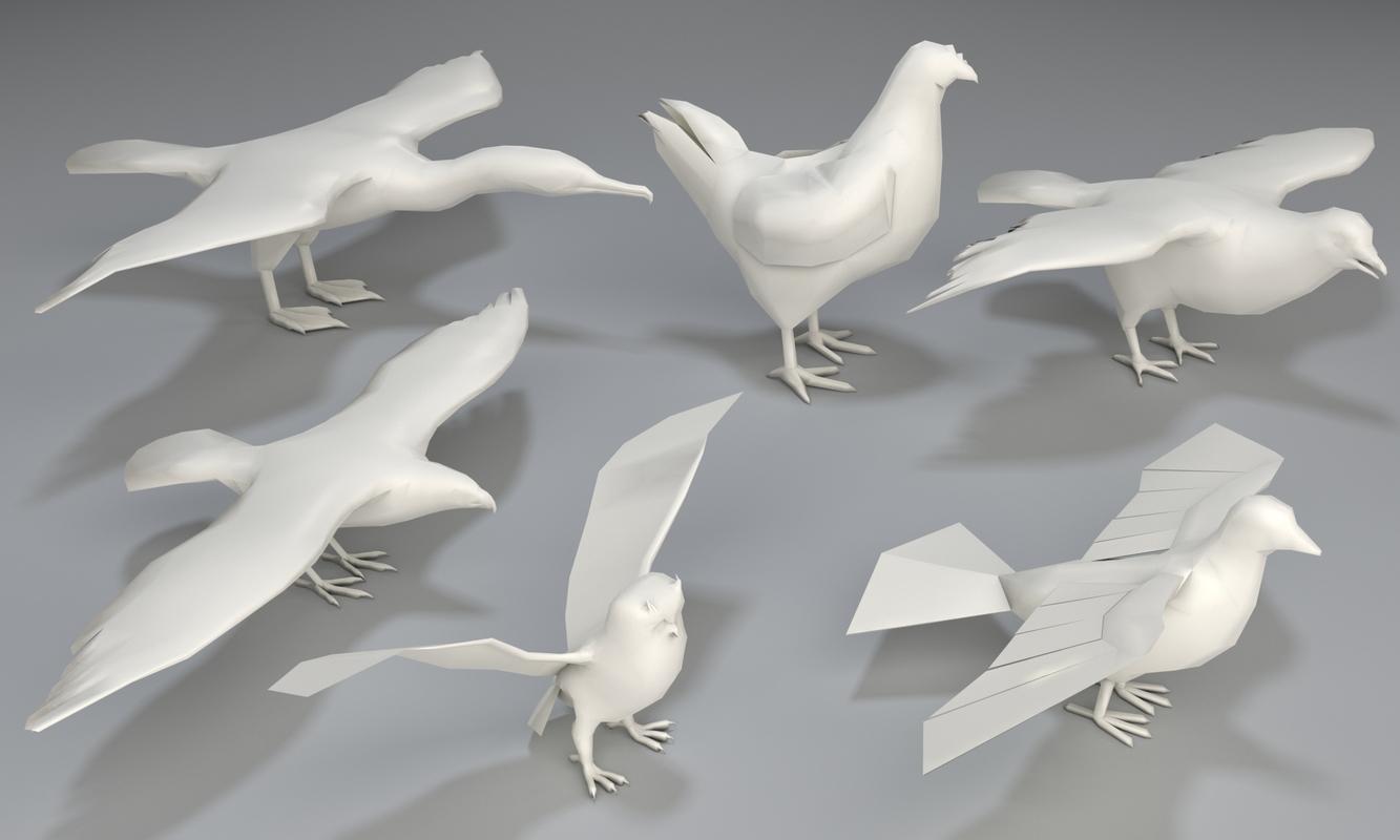 6 birds - 3D model