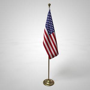 3D usa flag pole