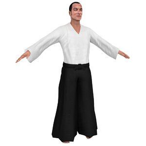 3D model aikido martial artist