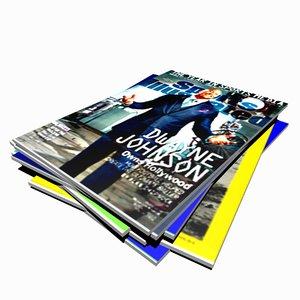 3D model magazine pile