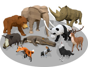 3D cartoon animals -