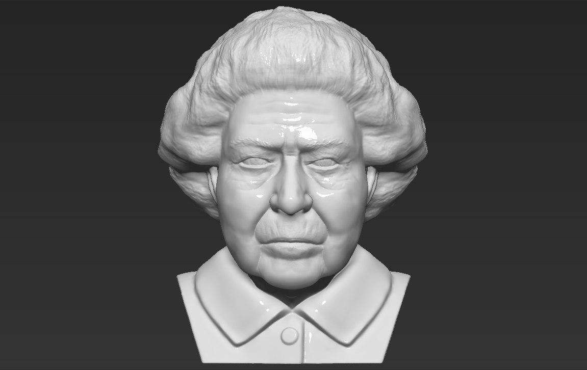 3D model queen elizabeth ii bust