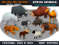 Low Poly Animals Africa Cartoon Collection - Animated 02