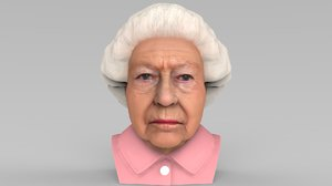 queen elizabeth bust ready 3D